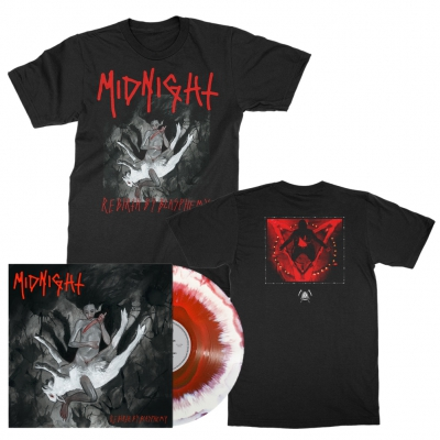 midnight - Rebirth By Blasphemy LP (Red/White) + Album T-Shirt (Black) Bundle