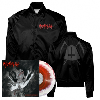 midnight - Rebirth By Blasphemy LP (Red/White) + Bell Satin Jacket (Black) Bundle