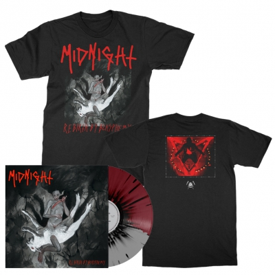 midnight - Rebirth By Blasphemy LP (Grey/Oxblood/Black) + Album T-Shirt (Black) Bundle