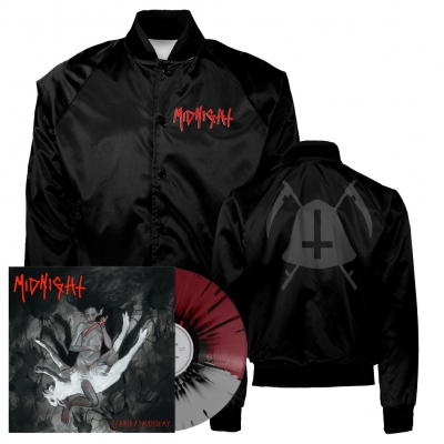 midnight - Rebirth By Blasphemy LP (Grey/Oxblood/Black) + Bell Satin Jacket (Black) Bundle