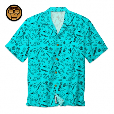 Milo Pattern Button Up Shirt (Aqua)