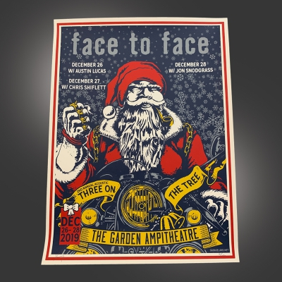 Biker Santa Screen-Printed Poster