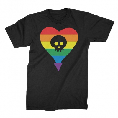 alkaline-trio - Rainbow Heartskull Tee (Black)