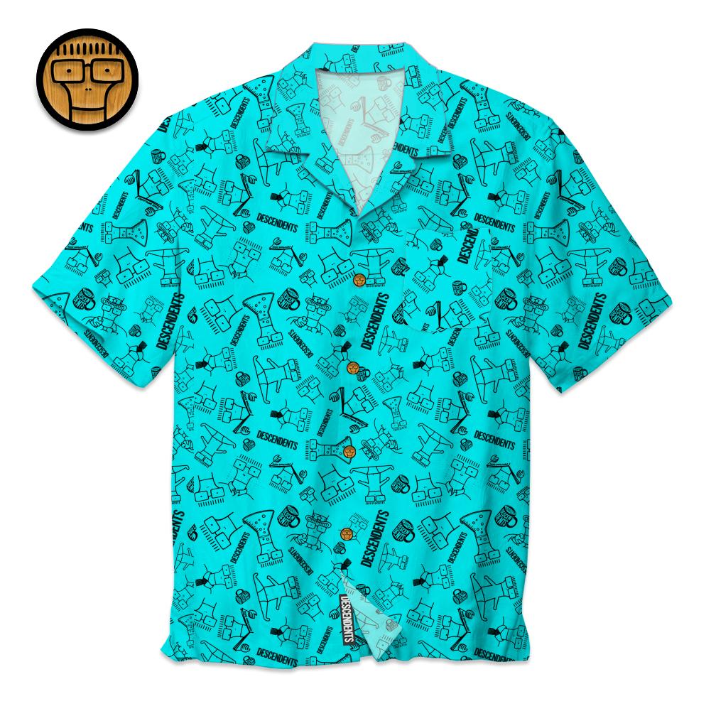 IMAGE | Milo Pattern Button Up Shirt (Aqua)