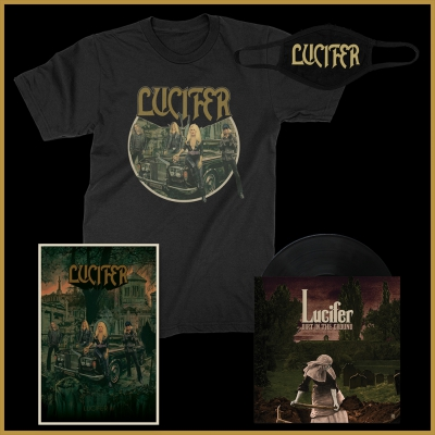 "lucifer - Dirt In The Ground 7"" (Signed/Black) + Face Mask + III Tee + Poster Bundle"