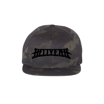Logo Camo Blackout Snapback Hat (Black)
