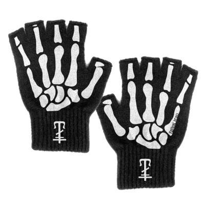 IMAGE | Skeleton Cross Fingerless Gloves (Black)