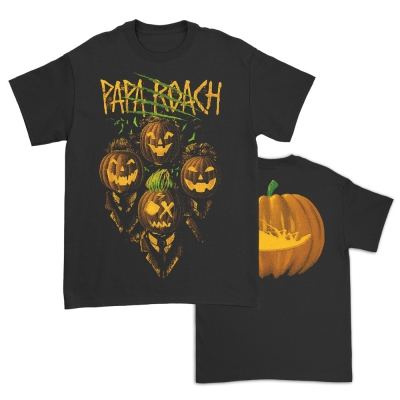 papa-roach - Glow In The Dark Pumpkin Heads Tee (Black)