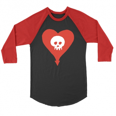 Classic Heartskull Raglan (Black/Red)
