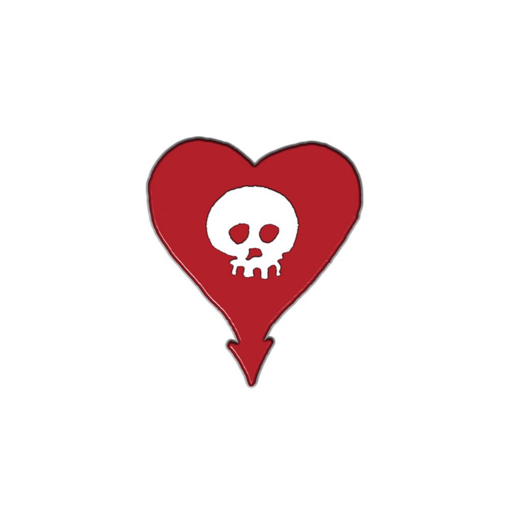 IMAGE | Red Heartskull Enamel Pin