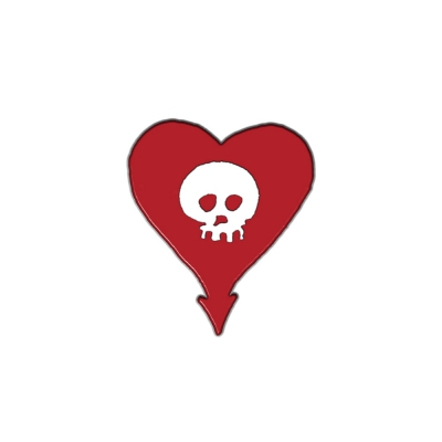 Red Heartskull Enamel Pin