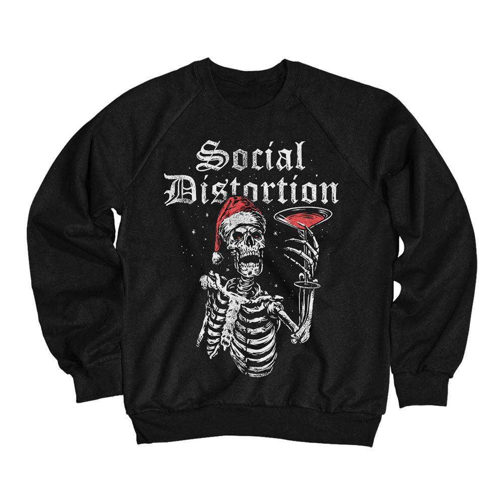 IMAGE | Holiday Martini Skelly Crewneck Sweatshirt (Black)