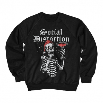 Holiday Martini Skelly Crewneck Sweatshirt (Black)