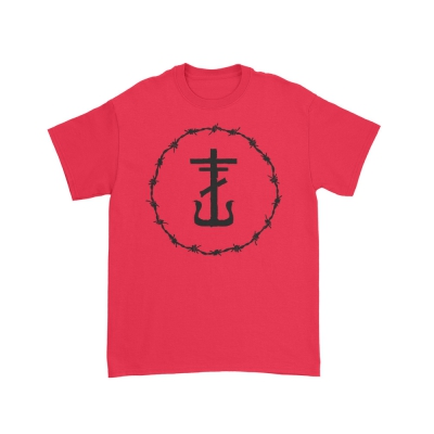 Barbed Wire Cross T-Shirt (Red)
