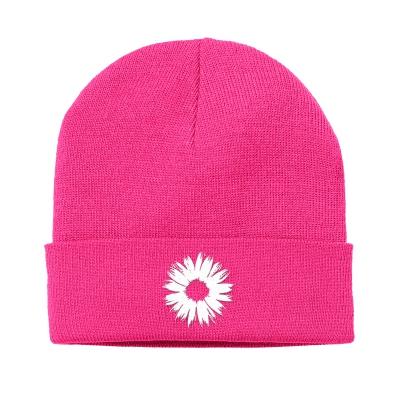 IMAGE | Flower Cuff Beanie (Pink)