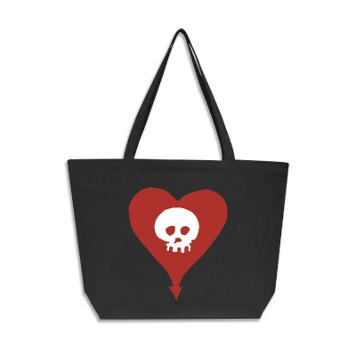 Heart Skull Oversized Tote Bag (Faded Black)