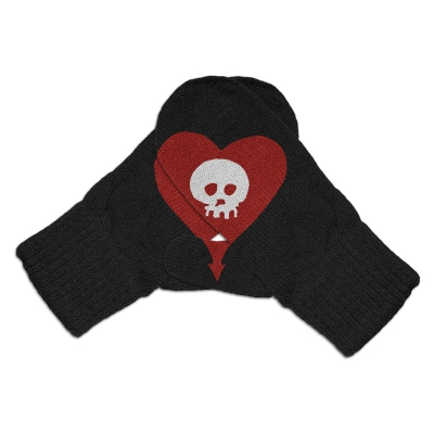Heartskull Mittens (Black)