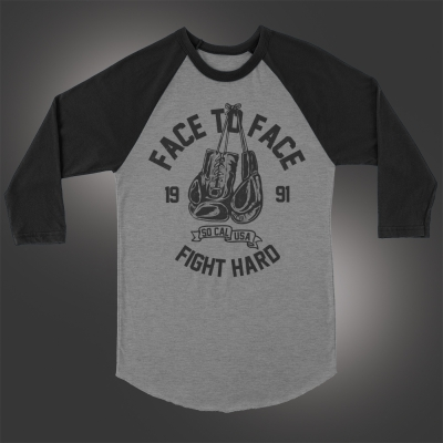 Fight Hard Raglan (Heather Gray/Black)