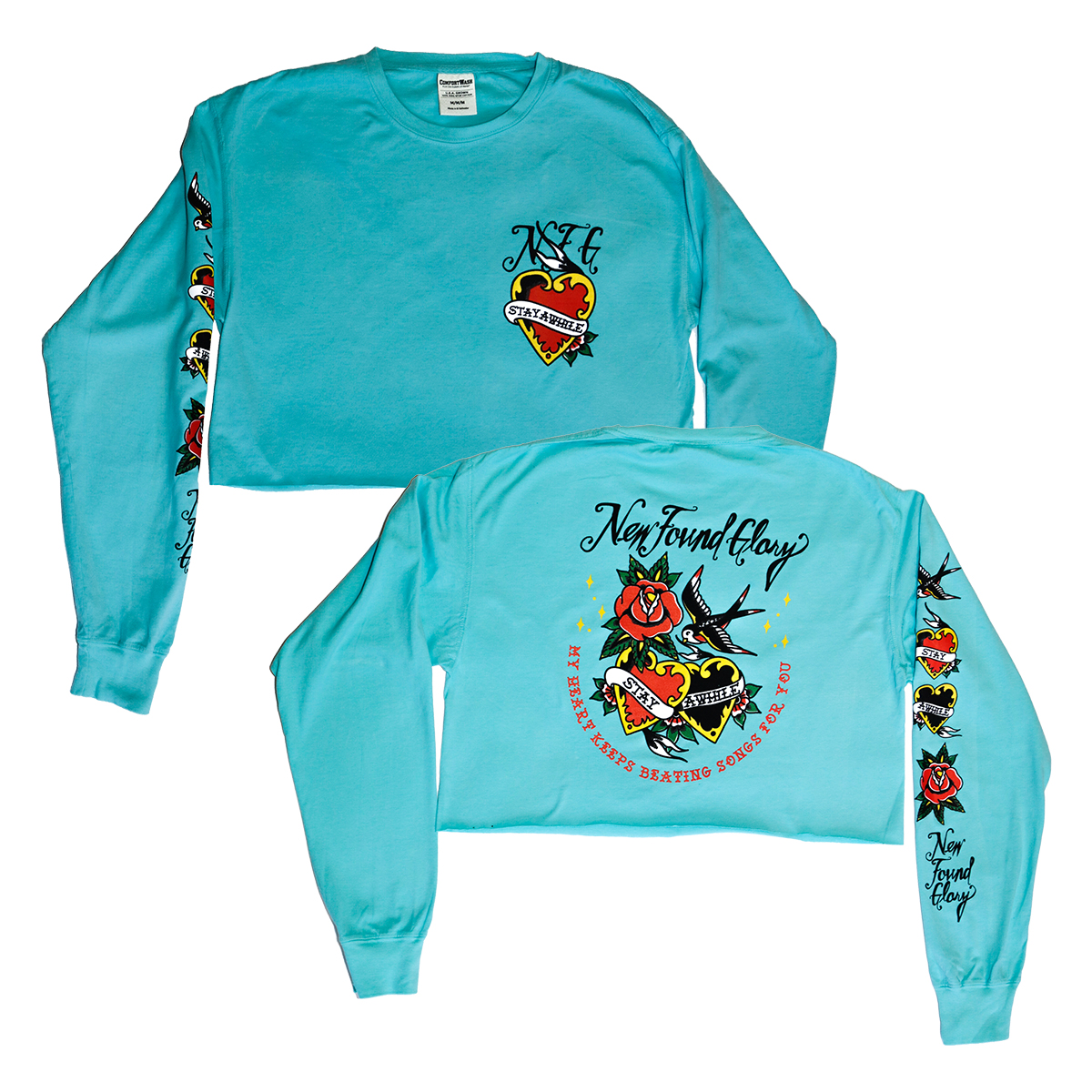 Stay A While Cropped Women's Long Sleeve (Mint)