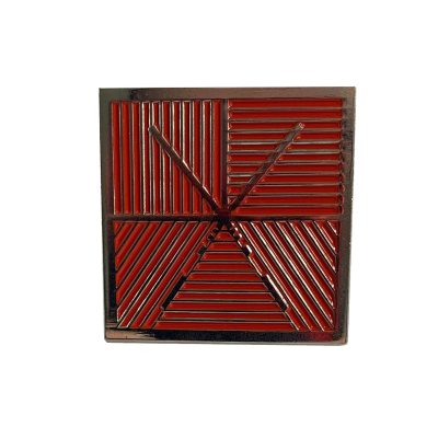 Square Logo Enamel Pin (Silver/Red)