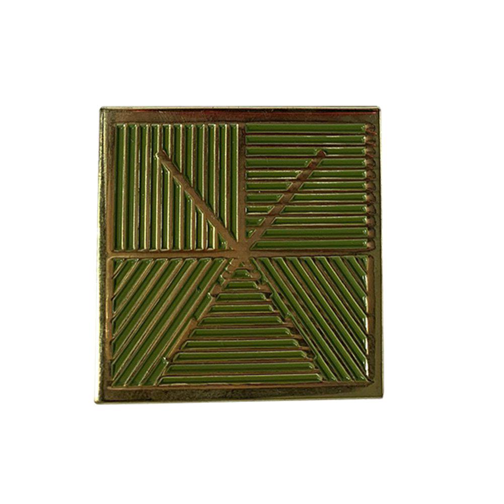 IMAGE | Square Logo Enamel Pin (Green/Gold)