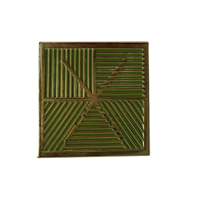 Square Logo Enamel Pin (Green/Gold)