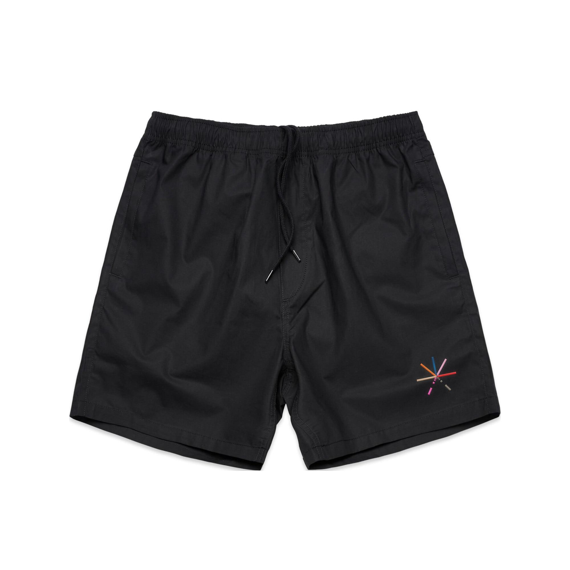 IMAGE | 7 Color Asterisk Embroidered Shorts (Black)