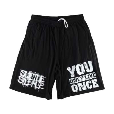 You Only Live Once Mesh Shorts (Black)