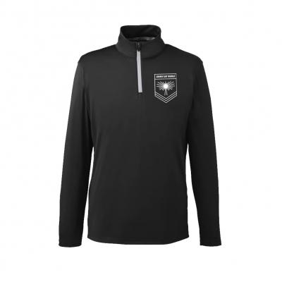 Rising Sun Logo Quarter Zip Golf Pullover (Black)