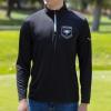 IMAGE   Rising Sun Logo Quarter Zip Golf Pullover (Black) - detail 2