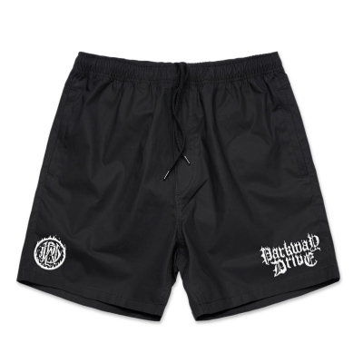 IMAGE   Fire Logo Beach Shorts (Black)