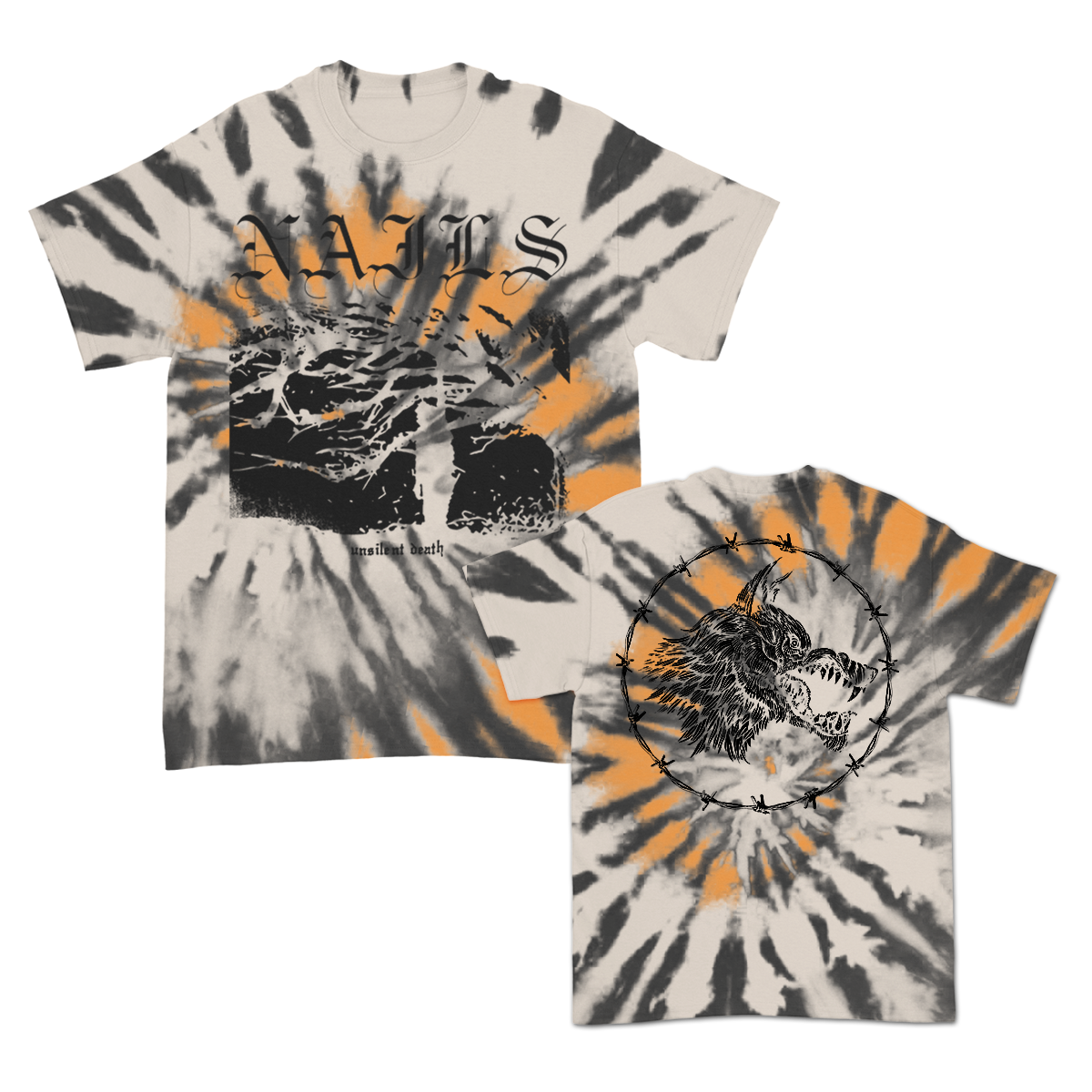 IMAGE | Unsilent Death Ltd. Dye T-Shirt (Sand/Black/Orange